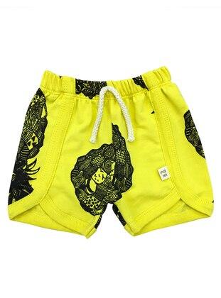 Multi - Cotton - Yellow - Baby Shorts