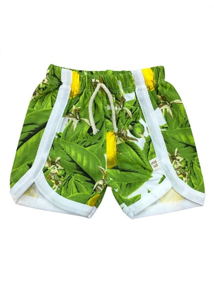 Multi - Cotton - Green - Baby Shorts
