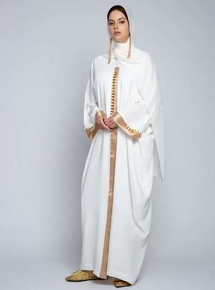White - Ecru - Unlined - V neck Collar - Abaya