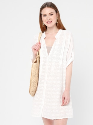 White - Floral - V neck Collar - Unlined - Cotton - Dress