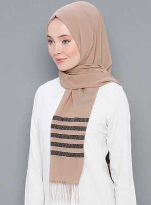 Beige - Striped - Printed - Cotton - Shawl