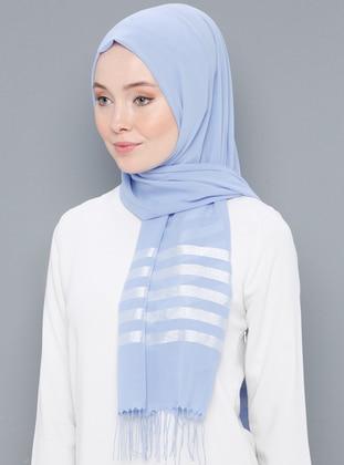 Blue - Striped - Printed - Cotton - Shawl