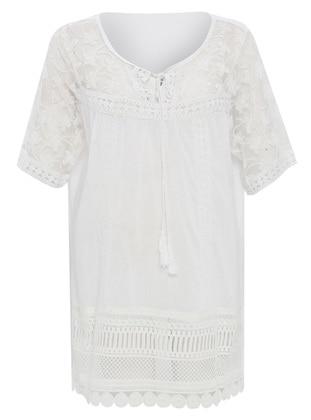 White - Crew neck - Cotton - Dress