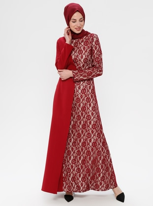 Maroon - Floral - Half Lined - Crew neck - Muslim Evening Dress