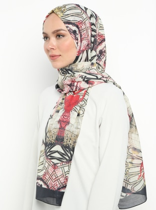 Red - Black - Printed - Shawl