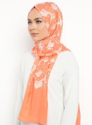 Orange - Printed - Shawl
