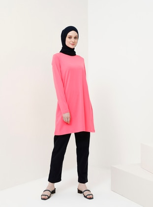 Pink - Crew neck - Cotton - Tunic