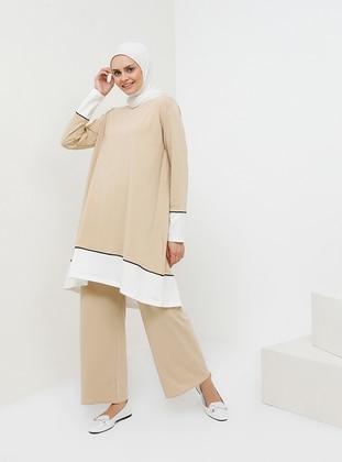 Beige - Unlined - Cotton - Suit