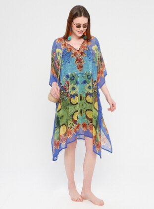 Saxe - Multi - V neck Collar - Unlined - Dress
