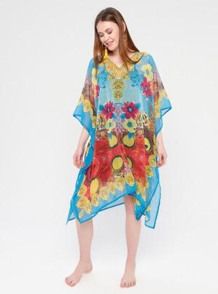 Turquoise - Multi - V neck Collar - Unlined - Dress