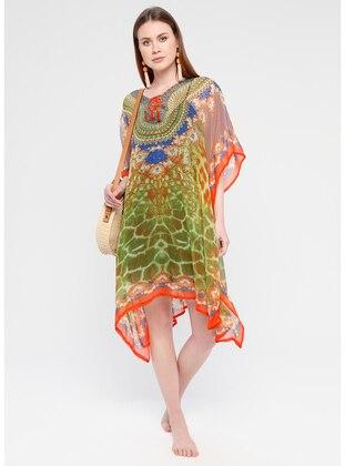 Orange - Multi - V neck Collar - Unlined - Dress