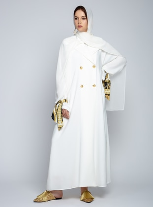 White - Ecru - Unlined - Shawl Collar - Abaya