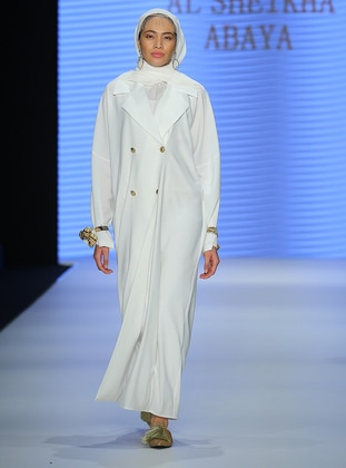 White - Ecru - Unlined - Shawl Collar - Abaya