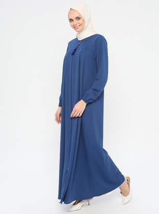 Blue - Indigo - Unlined - Crew neck - Abaya