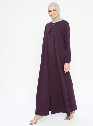 Plum - Unlined - Crew neck - Abaya - Miss Cazibe