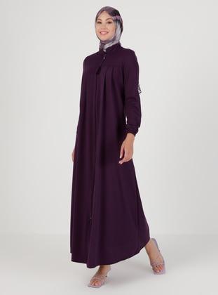 Plum - Unlined - Crew neck - Abaya