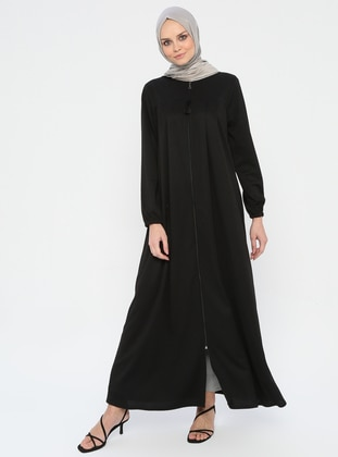 Black - Unlined - Crew neck - Abaya - Miss Cazibe