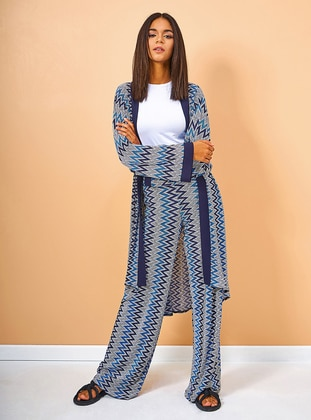 Navy Blue - Multi - Stripe - Fully Lined - Suit