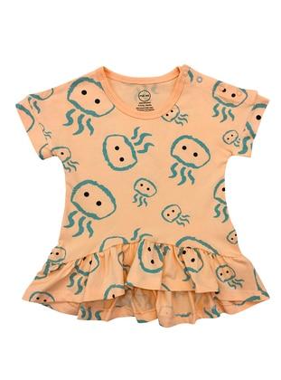 Multi - Crew neck - Cotton - Salmon - Baby Dress