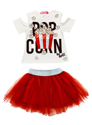 Multi - Crew neck - Cotton - Red - Girls` Suit