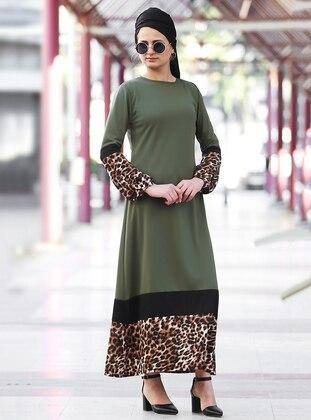 Khaki - Crew neck - Unlined - Acrylic - Dress
