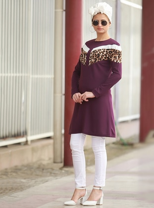 Purple - Leopard - Crew neck - Acrylic - Tunic
