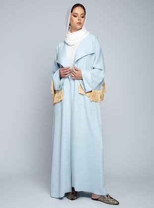 Blue - Unlined - Shawl Collar - Abaya