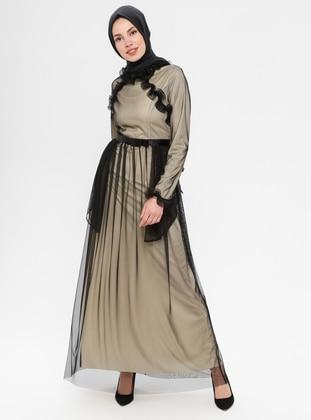 Black -  - Fully Lined - Crew neck - Muslim Evening Dress