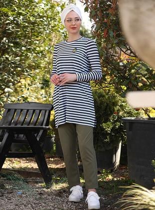 Khaki - Stripe - Unlined - Viscose - Suit