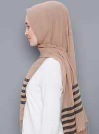 Beige - Striped - Printed - Cotton - Shawl