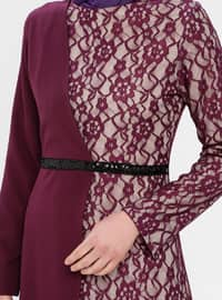 Purple - Floral - Half Lined - Crew neck - Muslim Evening Dress