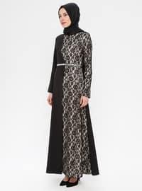 Black - Floral - Half Lined - Crew neck - Muslim Evening Dress