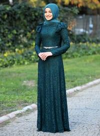 Green - Fully Lined - Crew neck - Muslim Evening Dress