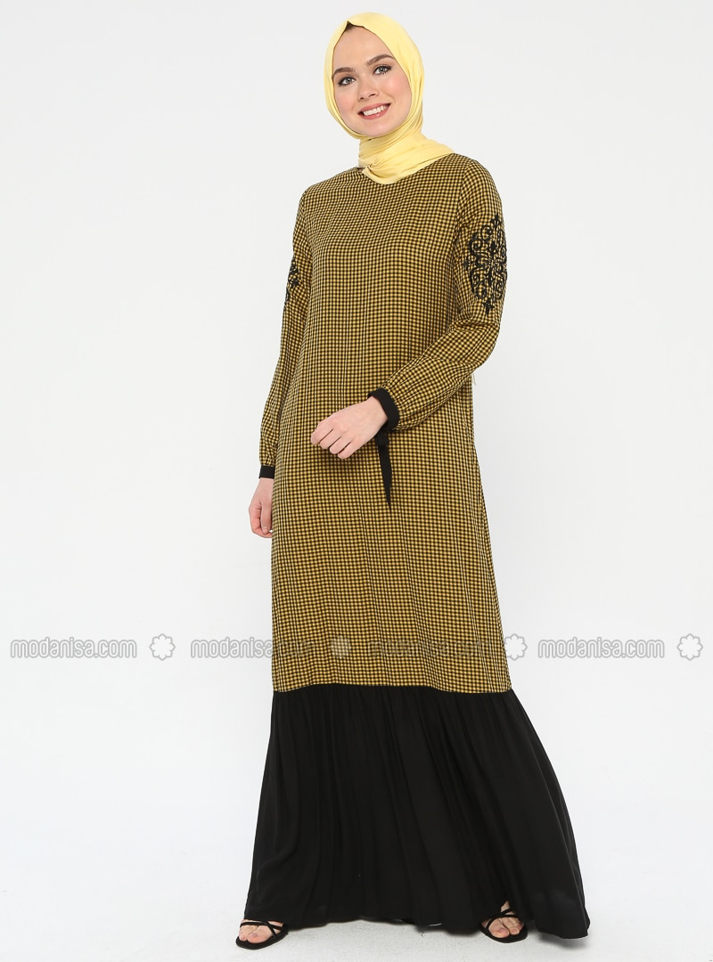 Senfgelb - Kariert - Rundhalsausschnitt - Ohne Innenfutter - Hijab Kleid