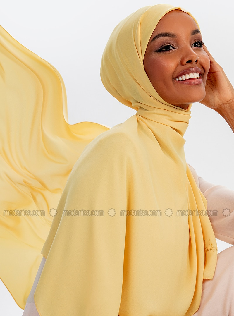 Aden Crepe Shawl - Yellow