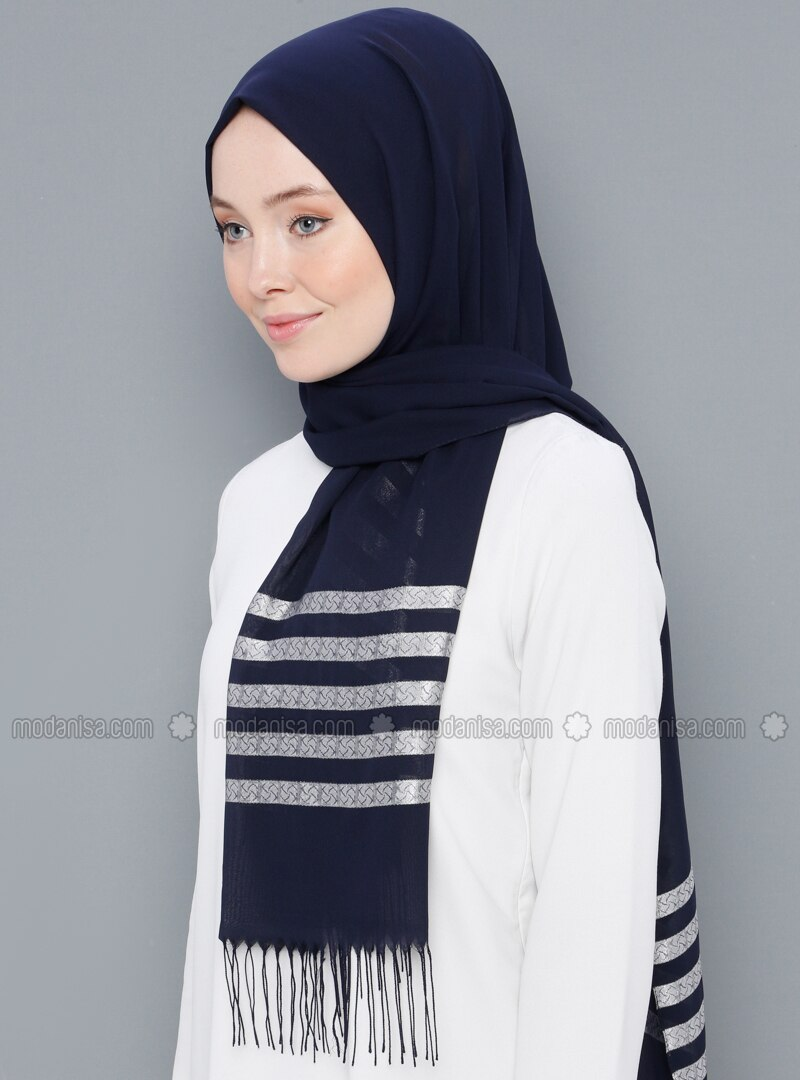 Navy Blue - Striped - Printed - Cotton - Shawl