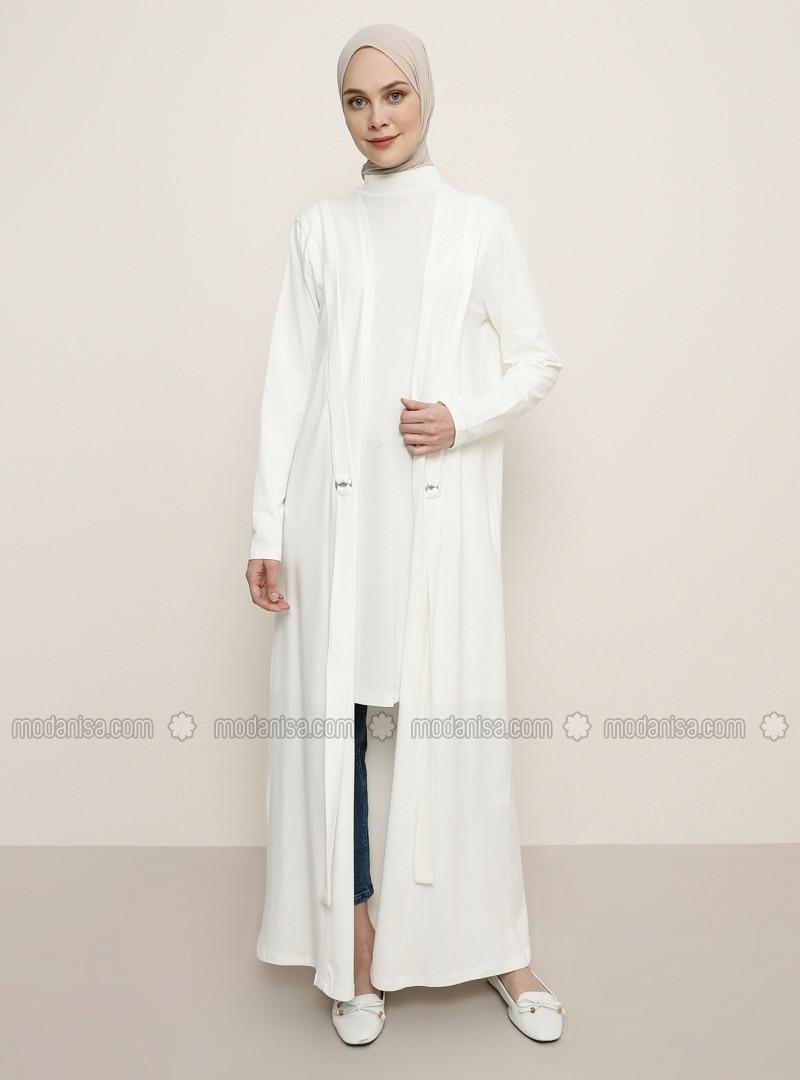 White - Ecru - Unlined - Cotton - Topcoat