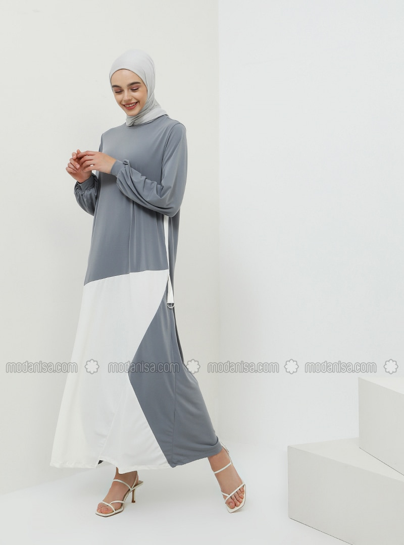 Gray - Crew neck - Unlined - Dress