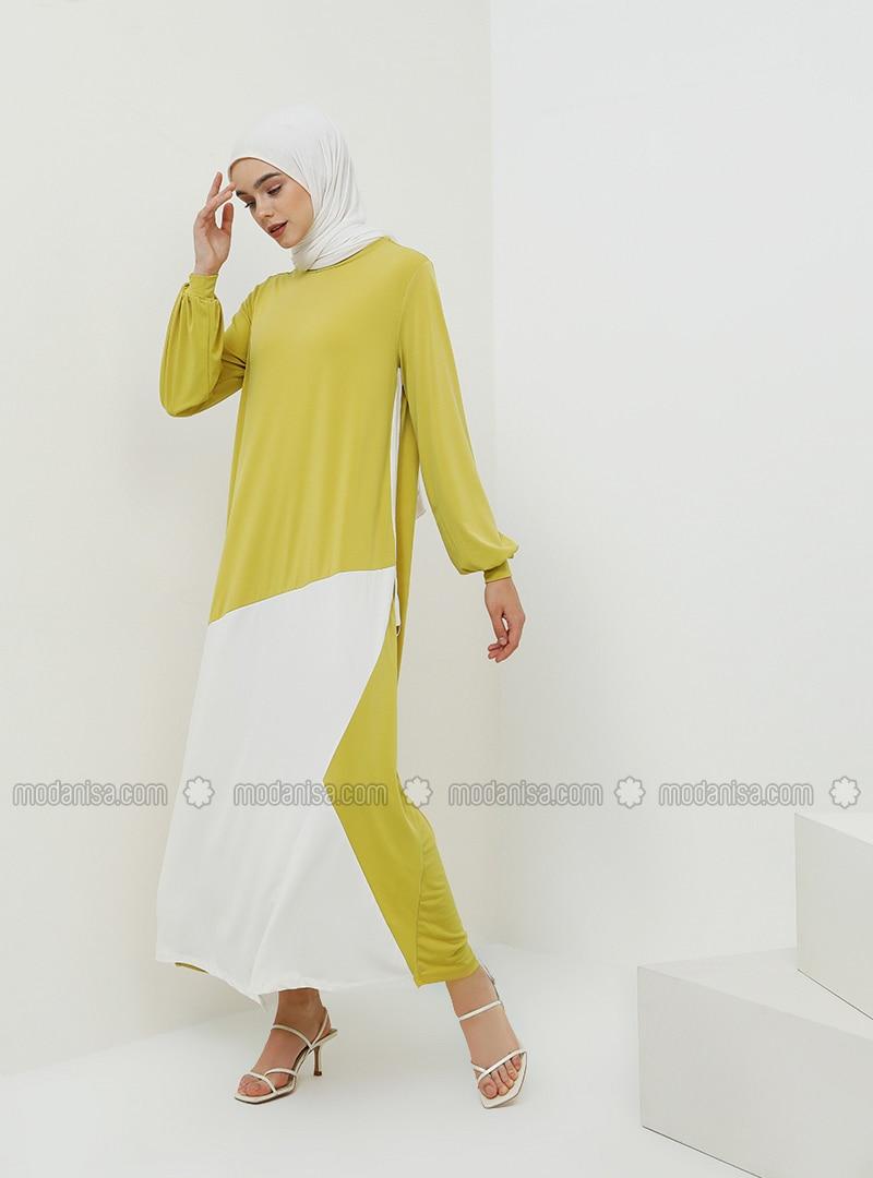 Green - Ecru - Mustard - Crew neck - Unlined - Dress