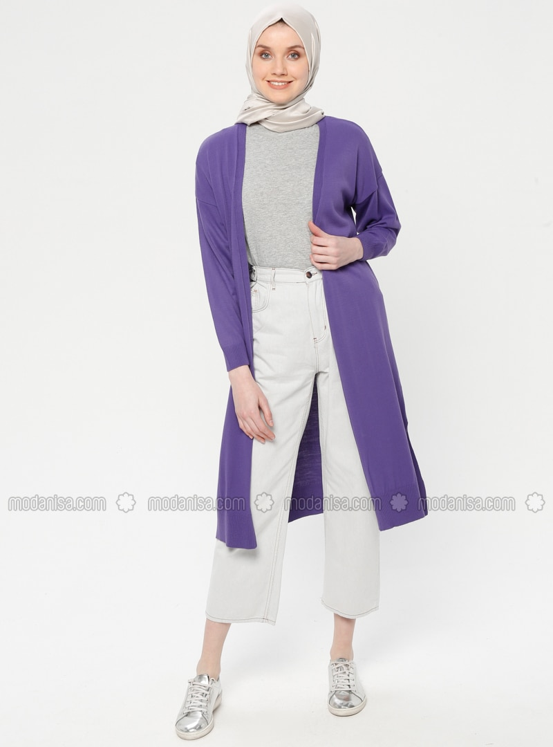 Purple - Acrylic -  - Cardigan