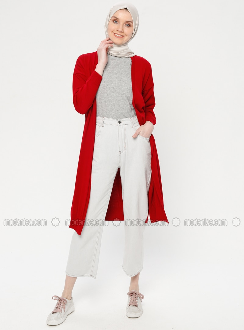 Red - Acrylic -  - Cardigan