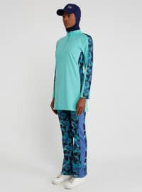 Turquoise - Multi - Polo neck - Tracksuit Top