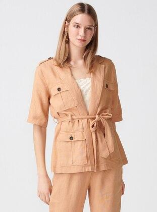 Camel - Unlined - Shawl Collar - Linen - Jacket