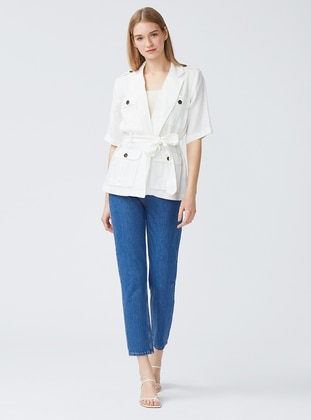 Ecru - Unlined - Shawl Collar - Linen - Jacket
