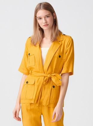 Mustard - Unlined - Shawl Collar - Linen - Jacket