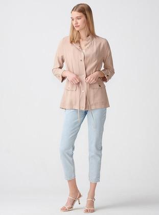 Beige - Polo neck - Jacket