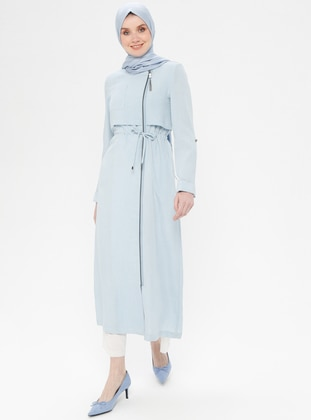 Blue - Unlined - Crew neck - Viscose - Topcoat