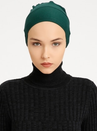 Combed Cotton - Lace up - Non-slip undercap - Green - Bonnet
