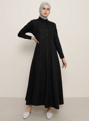 Black - Point Collar - Unlined - Cotton - Dress