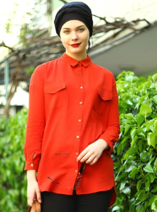 Terra Cotta - Point Collar - Cotton - Acrylic - Blouses